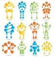 Stylized robots and robotics icon set vector image