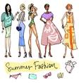 Summer Fashion hand drawn doodles vector image vector image