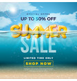 summer sale design with 3d typography letter in vector image