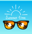 summer time concept sunglasses on blue background vector image vector image