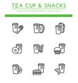 tea cup with different fast food vector image vector image