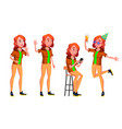 teen girl poses set friendly cheer for vector image vector image