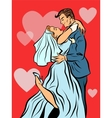 the bride and groom married wedding card vector image