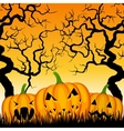 three pumpkins and trees vector image vector image