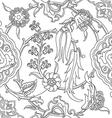 tile oriental floral doodle ethnic pattern flower vector image vector image