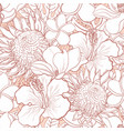 tropical flowers seamless pattern - white hand vector image vector image