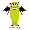 winged girl monster print design vector image vector image