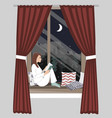 woman sitting night window and reading book vector image