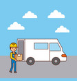 worker logistic loading truck with box vector image vector image