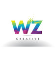 wz w z colorful letter origami triangles design vector image vector image