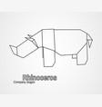 origami logo contour rhinoceros vector image