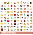 100 charity icons set flat style vector image vector image