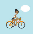 african american woman cycling chat bubble vector image