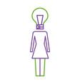 business woman with bulb shape head creativity vector image