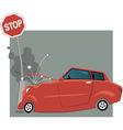 Car crashed into a traffic sign vector image vector image