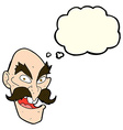 cartoon evil old man face with thought bubble vector image vector image