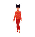 cartoon woman in traditional red chinese qipao or vector image