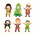 Children in costumes isolated on white background vector image vector image