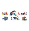 collection sellers and counters flea market vector image vector image