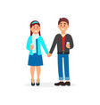 couple in love standing holding hands vector image