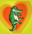 crocodile character cute heart love vector image