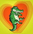 crocodile character cute heart love vector image vector image
