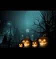 dark cute halloween pumpkins and big moon vector image vector image