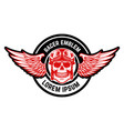 emblem template with biker skull and wings design vector image vector image