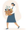 fired woman carrying box with her belongings vector image vector image