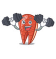 fitness fish slice character cartoon vector image