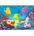 Funny happy animals under the sea vector image vector image