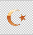 golden star and crescent symbol of islam isolated vector image vector image