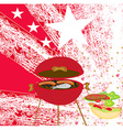 grunge Barbecue with the flag in the background vector image vector image