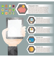 hand hold tablet polygon infographic for financial vector image