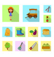 isolated object of farm and agriculture logo set vector image vector image