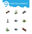 isometric city set of turning road dc memorial vector image vector image