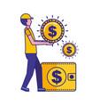 man holding coin dollar money wallet vector image vector image