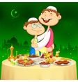 People hugging and wishing Happy Bakrid vector image vector image