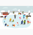 people skating on ice rink outdoors winter vector image vector image