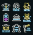 pets hotel icons set neon vector image vector image