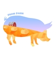 pig silhouette with double exposure beautiful vector image vector image