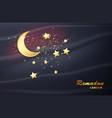 ramadan kareem banner with moon eid mubarak card vector image vector image