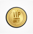 realistic 3d detailed vip members only golden vector image