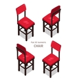 Red Chair in Isometric Projection vector image vector image