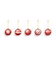 red christmas tree toy set isolated on white vector image vector image