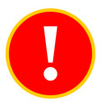 red circle exclamation mark icon warning sign vector image vector image