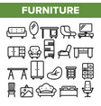 room furniture line icon set interior vector image vector image