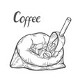 sack with coffee beans vector image vector image