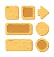 set cartoon wooden game assets vector image