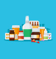 set medications for treatment diseases vector image